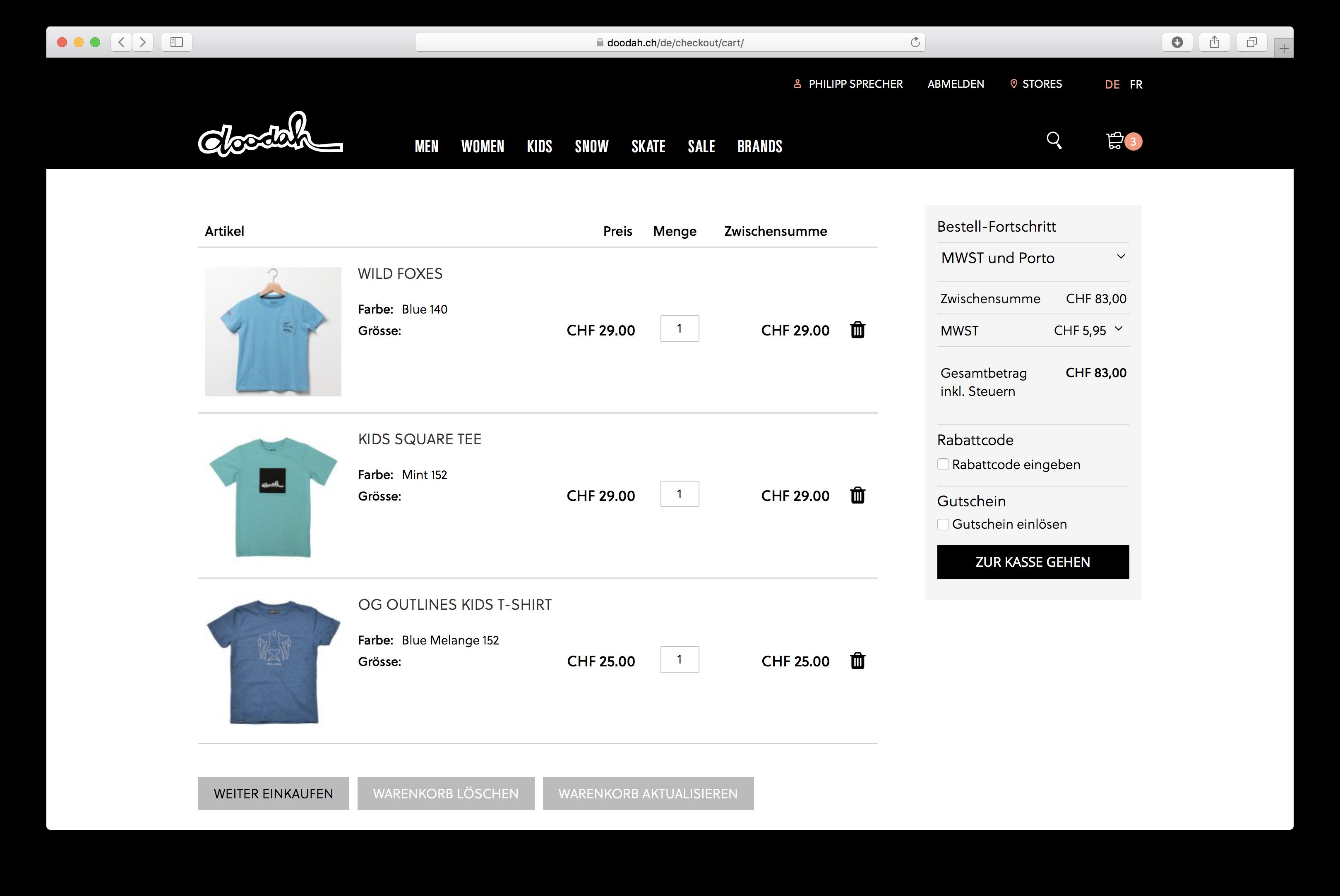 Warenkorb-Seite auf doodah.ch, dem Fashion-Onlineshop basierend auf Magento 2 von insign