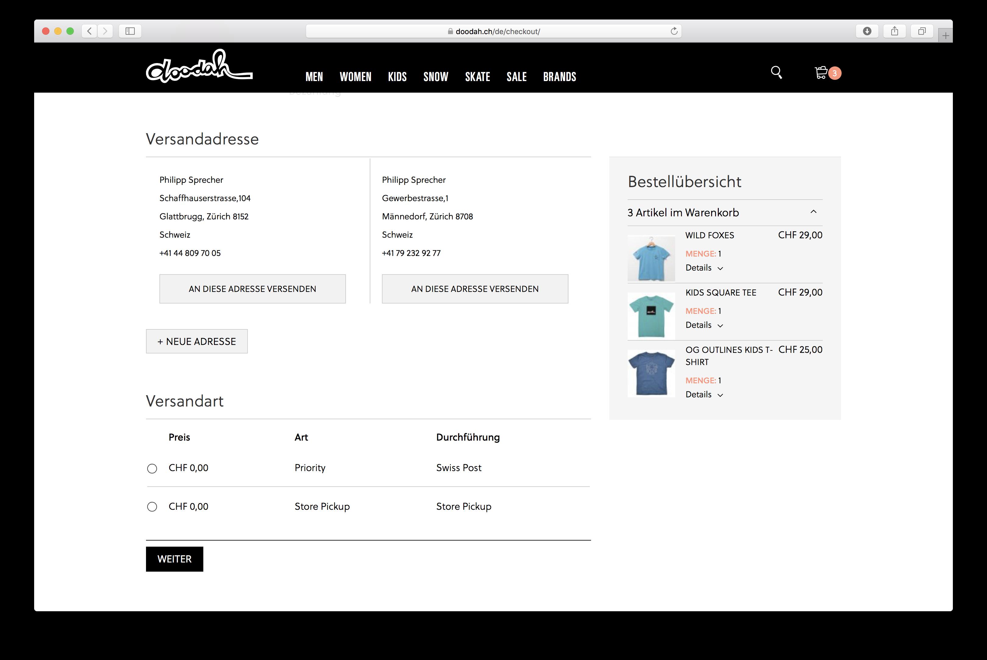 Checkout-Prozess auf doodah.ch, dem Magento-Shop im B2C-Bereich, entwickelt von der insign gmbh