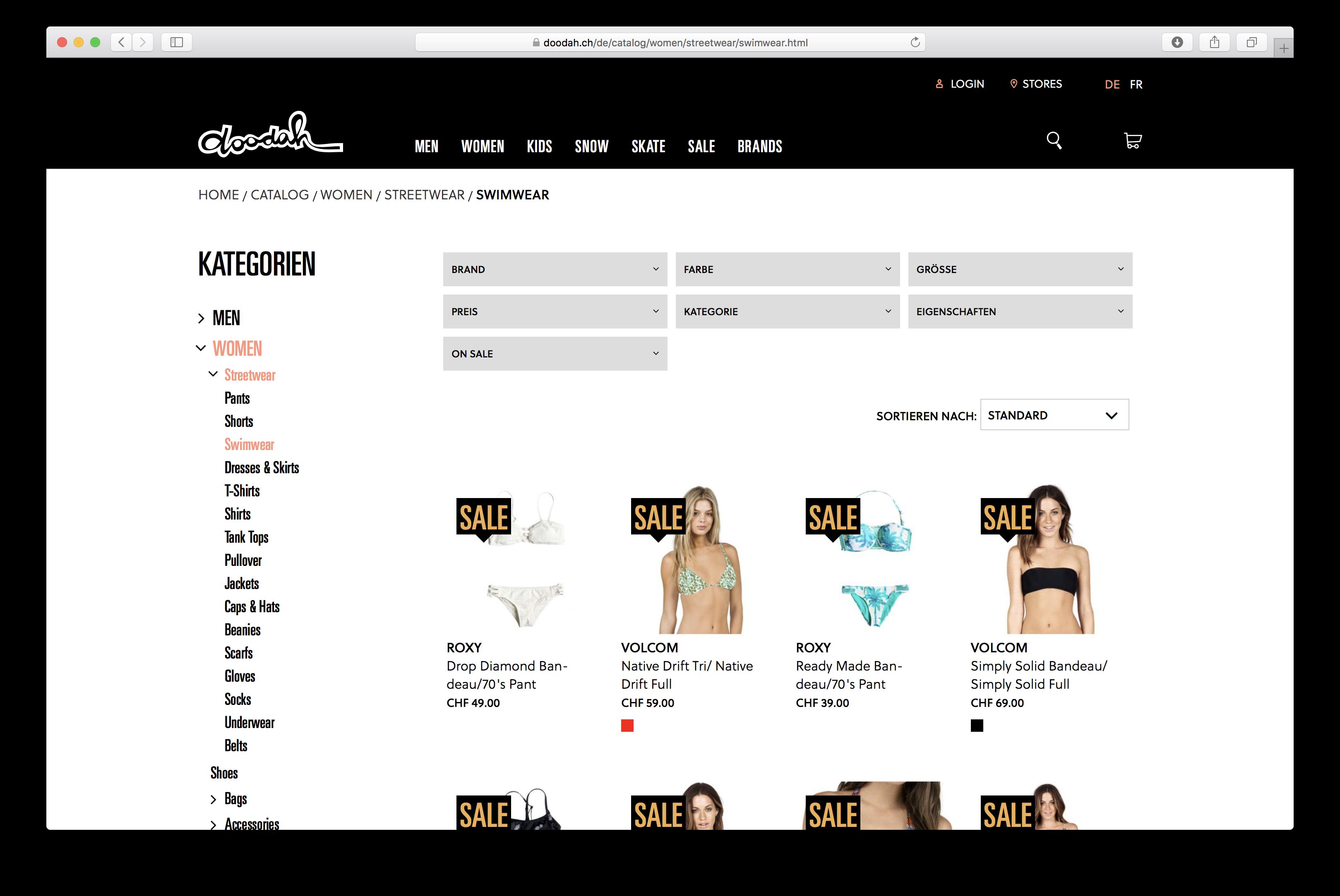 Kategorienseite im doodah-Webshop, basierend auf Magento 2 und entwickelt von insign
