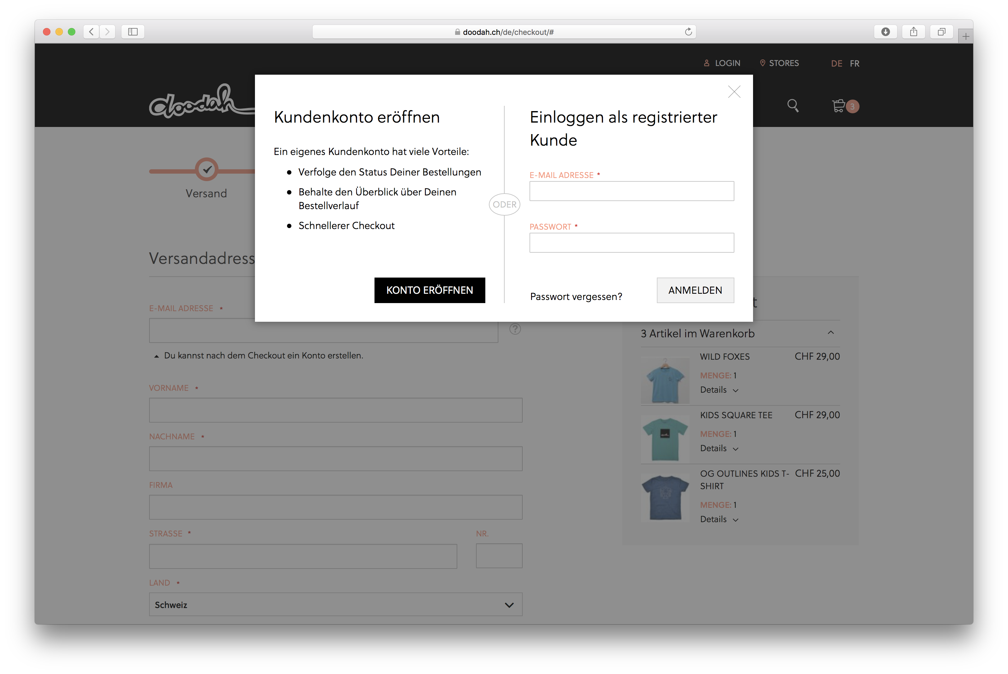 Login und Registrierung auf doodah.ch, dem B2C-Magento-Shop von insign