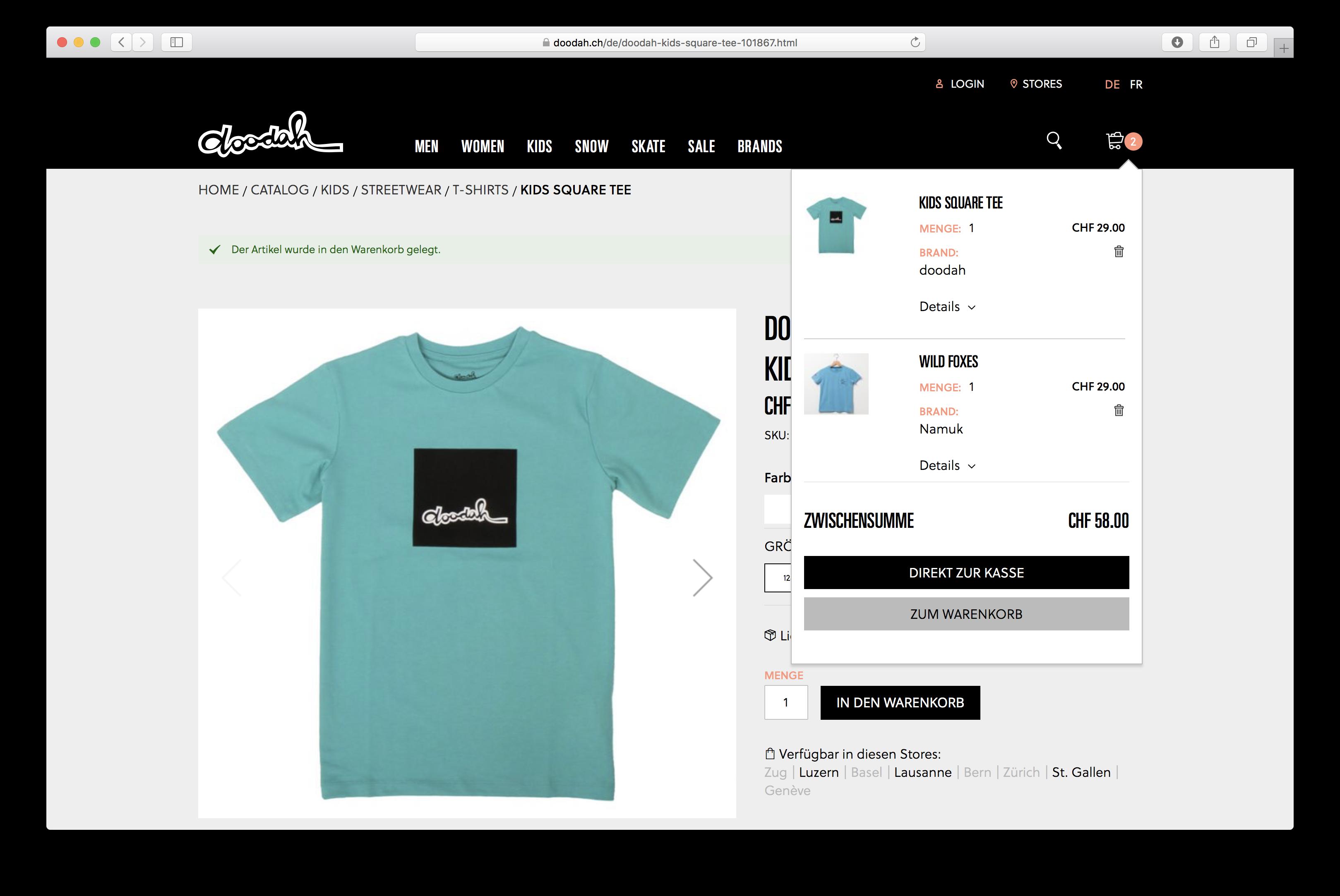 Mini-Warenkorb auf doodah.ch, dem von der insign gmbh entwickelten Magento-Shop