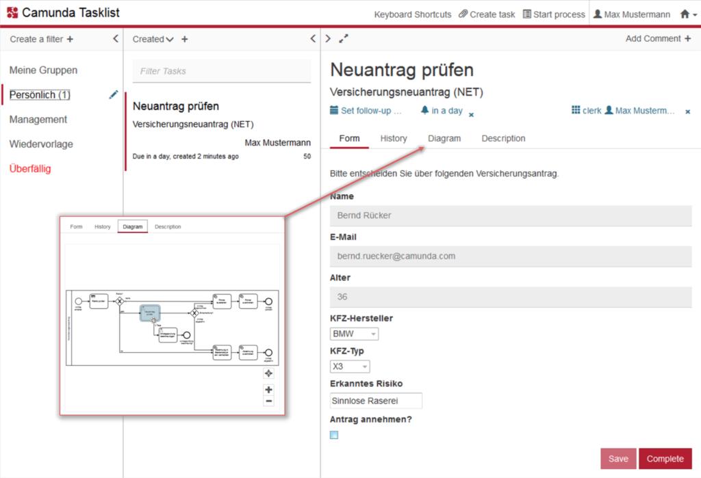 Camunda Tasklist von insign mit einem Beispiel-Task aus dem digitalisierten Workflow für einen Versicherungsantrag