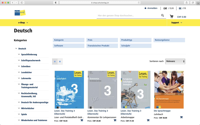 Screenshot Category-Page im Shop von Schulverlag - Magento Shop der insign gmbh