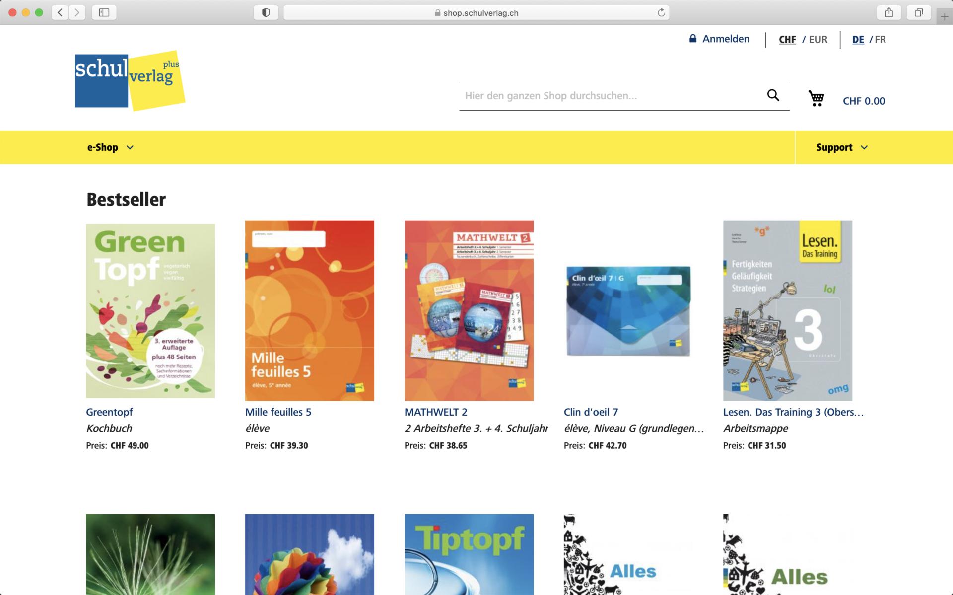 Screenshot Landingpage im Shop von Schulverlag - Magento Shop der insign gmbh