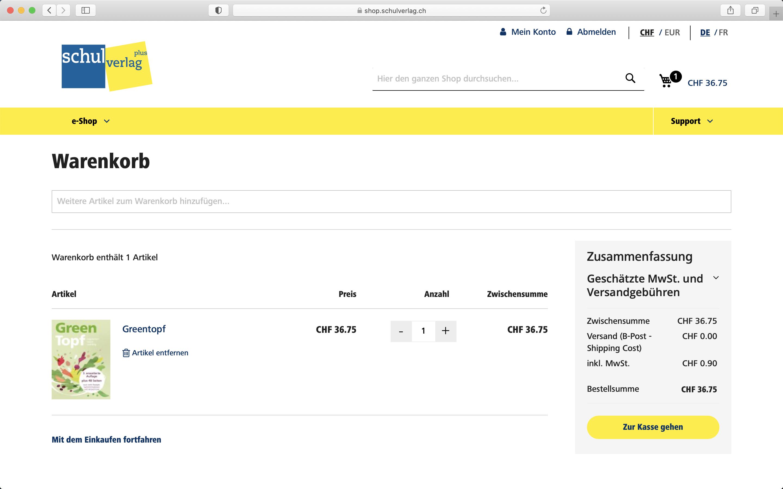 Screenshot Warenkorb im Shop von Schulverlag - Magento Shop der insign gmbh