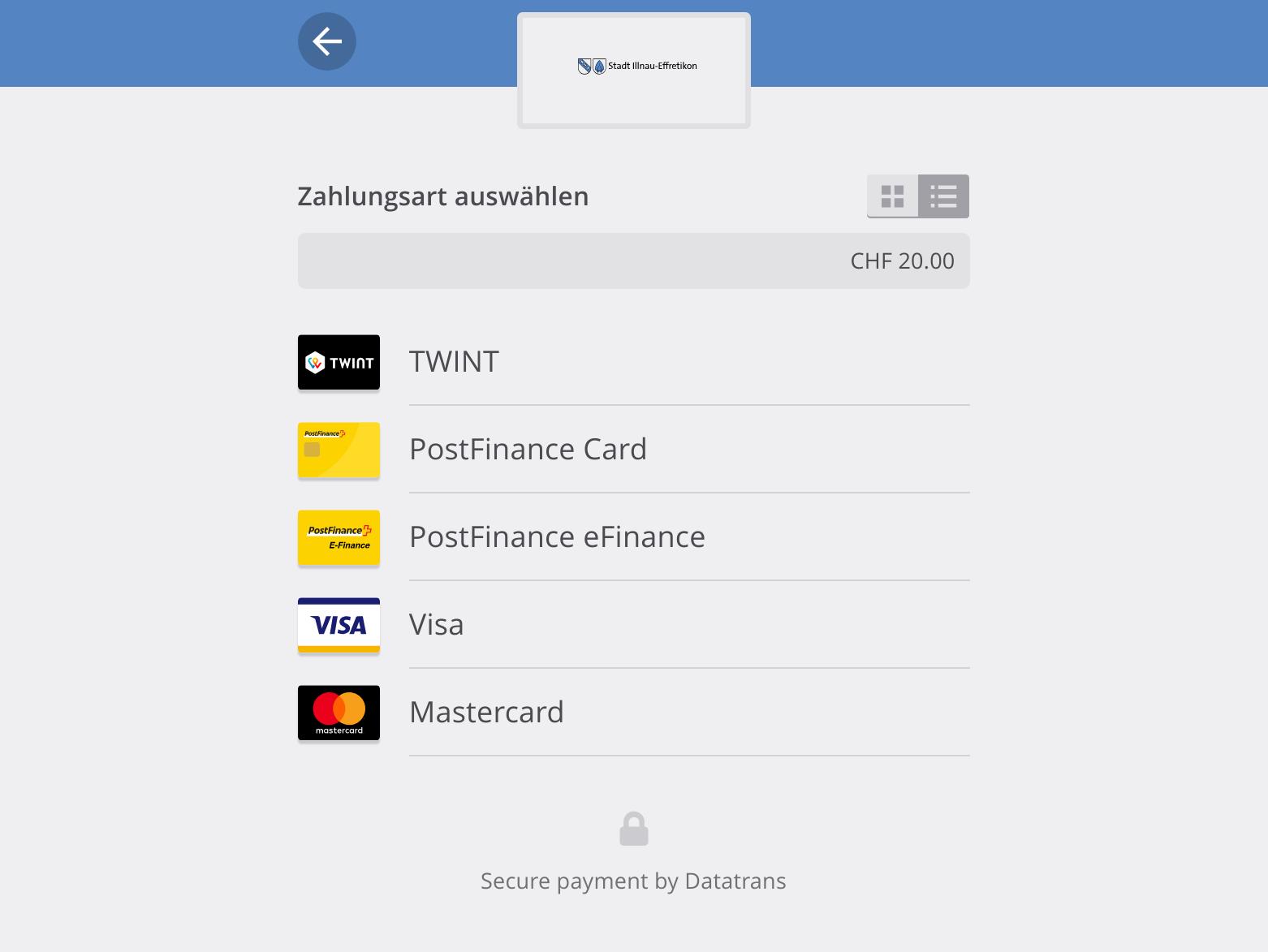 die Zahlungsart TWINT im Webshop im Checkout-Prozess wählen