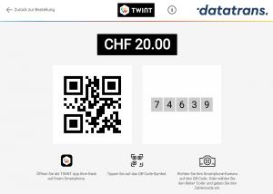 QR-Code scannen (oder Code alleine) und per TWINT im Webshop bezahlen